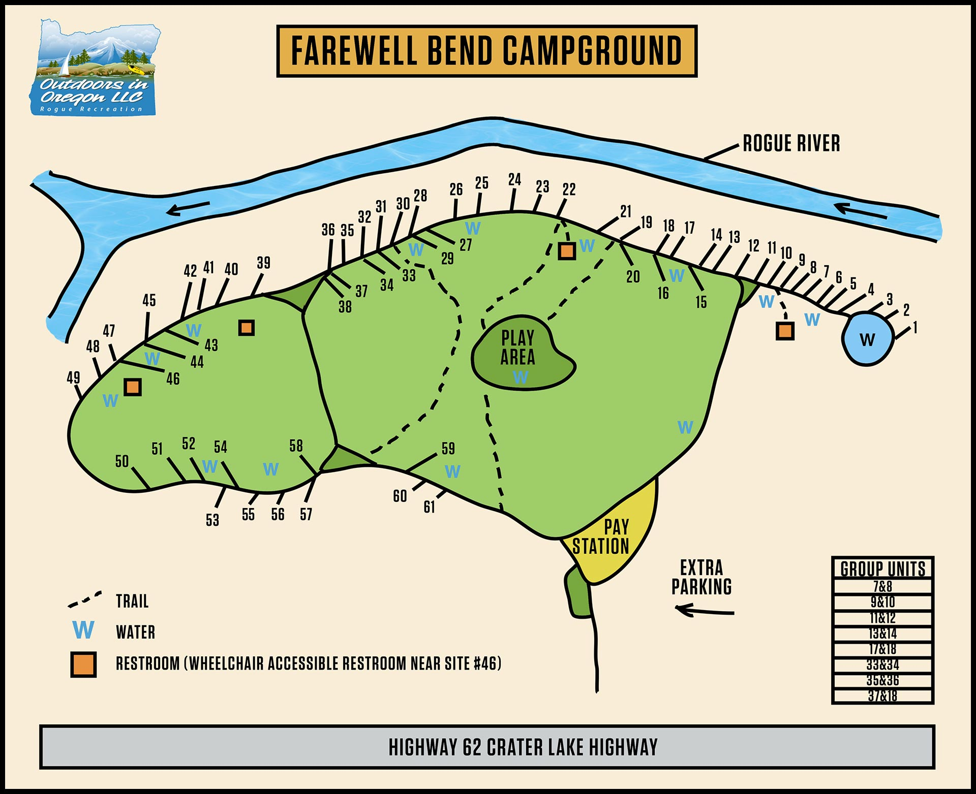 Farewell Bend Campground Map